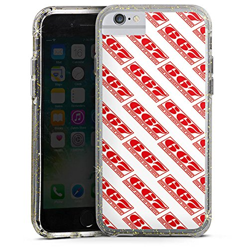 Apple iPhone 8 Bumper Hülle Bumper Case Glitzer Hülle Red Rot Pattern Bumper Case Glitzer gold