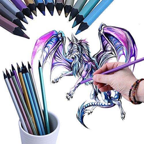 (autone 12Metallic farbigen Bleistift ungiftig für Zeichnen Skizzieren Set Stationery)