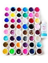 Coscelia Lot de 48 Couleurs Pure Transparent Pailletes UV Gel Constructeur Ongles d'Art Décor Avec Cleanser Plus