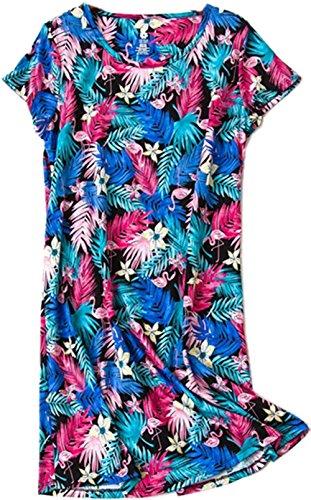 Luckytung Damen Nachthemd Baumwolle Schlaf-T-Shirt Casual Print Nachtwäsche - Blau - Large - Print Schlaf Tee