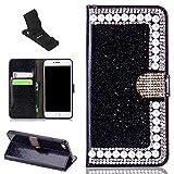 iPhone 6Plus Hülle Brieftasche Bling, SXUUXB iPhone 6sPlus lustig Handarbeit Glitzer Funkeln Folio Flop Magnetische Lederhülle Klappständer Brilliant Diamant Tasche mit Kartenhalter Staubdicht Schutz Schale für Apple iPhone 6Plus/6sPlus 5,5