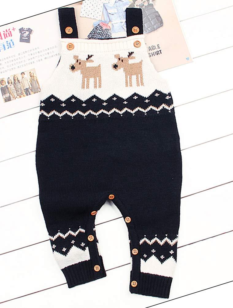 Odziezet Navidad Peleles Mono de Punto Bebé Pantalones con Peto Rojo Azul Invierno Recién Nacido 0-1años 4