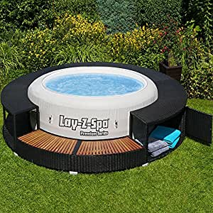 xxl whirlpool umrandung polyrattan pool rahmen verkleidung poolumrandung garten. Black Bedroom Furniture Sets. Home Design Ideas