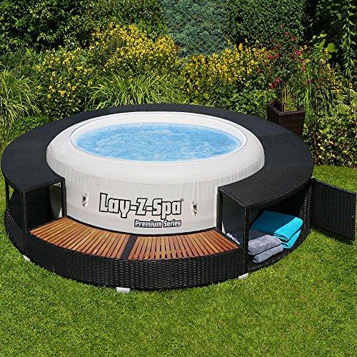 XXL Whirlpool Umrandung Polyrattan Pool Rahmen Verkleidung Poolumrandung*