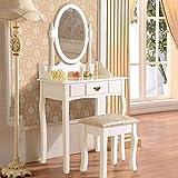 UEnjoy Coiffeuse Table de Maquillage Blanche avec Tabouret et Miroir Ovale Grand Tiroir