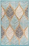 Carpetforyou Designer moderner flachgewebter In- & Outdoor Teppich Leaves On Sand 3D Effekt Laub Baum grün beige braun in 4 Größen für Wohnzimmer Jugendzimmer und Terrasse