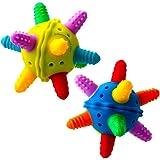 BABYNOW Balle sensorielle de dentition pour bébé [lot de 2] Hochet avec design en 3D - jouet musical - couleurs vives - en silicone de qualité médicale [sans BPA]