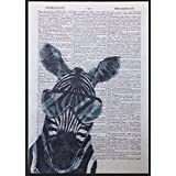 Zebra page de dictionnaire vintage imprimé Décoration murale Image insolite Animal Cool Funky