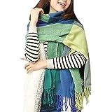heekpek Sciarpa Donna Inverno scialle maglione cappotto Girl grandi Tartan Wrap Maglia Scialle Inverno Donna Poncho Donna Inv