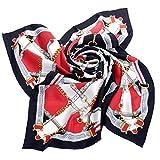 Avenella Zeitlos Elegantes SEIDENTUCH aus Seidentwill in klassischem Design, Farben: Rot Weiss Gold Schwarz Grau; Tuch aus 100% Seide, 88x88 cm, Handrolliert