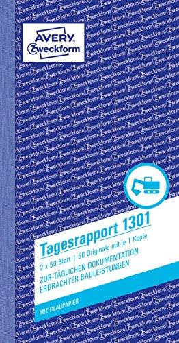 Avery Zweckform 1301 Tagesrapport (105x200 mm, mit 2 Blatt Blaupapier, 2x50 Blatt) weiß/gelb