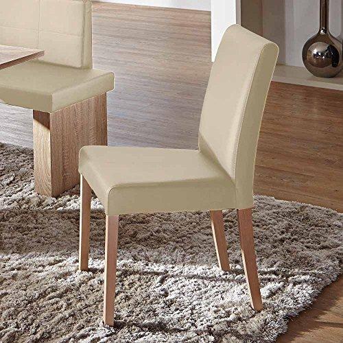 Pharao24 Stuhl Set in Beige Kunstleder Buche Massivholz