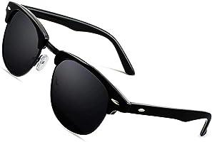 CGID MJ56 clubma Unisex Retro Vintage Sonnenbrille im angesagte 60er Browline-Style mit markantem Halbrahmen...