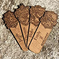 Personalised Wooden Harry Potter Inspired Bookmark - Your name engraved with your Hogwarts House