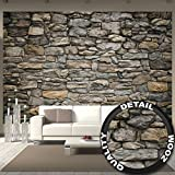 Murale Grey Stonewal – mur decoration papier peint de Revêtement mural de Pierre grès Revêtement mural de 1000 Pierre 3d | murale photo mur deco chez GREAT ART (336 x 238 cm)
