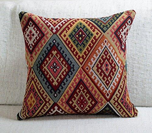 The Coastal Cushion Company Traditionelle türkische Kelim-Stil Kissenbezug. 43,2x 43,2cm. Abdeckung Eckig Schwere Gewebe der Kelim Diamant Muster.