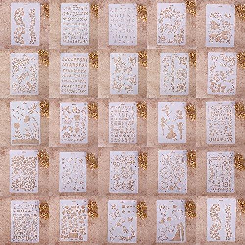 Zhuotop Kinder Zeichenschablonen Set Airbrush Schablonen zum Mode Druck Zeichnen Airbrush Malen Handwerk Scrapbooking Album Dekoration, 01, 01# (Malen Schablone Zum)