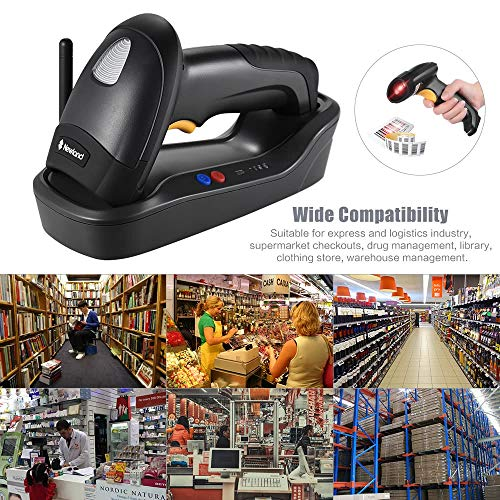 Kabelloser 1D / 2D-Handheld (PDF417 / MicroPDF417) Barcode-Scanner Barcode-Leser mit Basis-USB-Kabel für die Supermarktbibliothek Express Company Store Warehouse