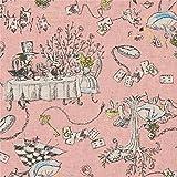 Rosa Leinwandgewebe mit Alice im Wunderland von Kei Fabric