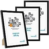 Photolini Juego de 3 Marcos 21x30 cm / A4 Modernos, Negros de MDF con Vidrio acrílico, Incluyendo Accesorios/Collage de Fotos