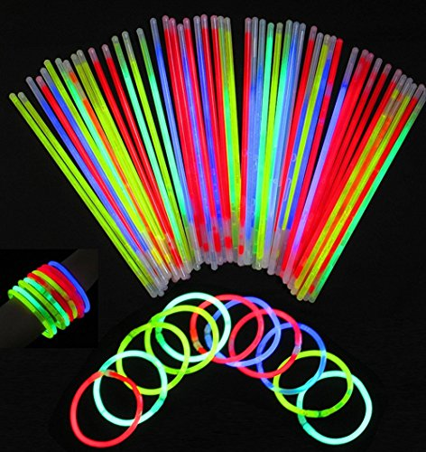 """8 """"Glow Stick Party, couleurs mixtes - Stillshine bricolage bracelets, colliers, kits pour créer des lunettes, des bracelets triples, un bandeau, des boucles d'oreilles, des fleurs, une boule de lueur et plus encore! (10PCS)"""