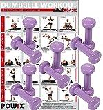 POWRX Vinyl Kurzhantel 10er Set inkl. Workout I Hantel-Set ideal für Group Fitness Kraft Training I 10 Hanteln Gesamtgewicht 5 kg