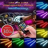 Agedate CAR Atmosphäre Licht, Innenbeleuchtung 4×12 Mehrfarbliche LED Streifen Leuchte USB-Port Autoladegerät Innenraumbeleuchtung Auto Lichtleiste mit Fernbedienung