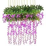 Vidillo Kunstblumen Blauregen 12 Stück 110cm künstlicher Glyzinien Wistarie hängend Seidenblüten Dekoration für Hochzeiten Hause Garten Party Partei-Dekor und besondere Ereignisse (Lila)