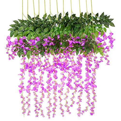 Fiori pianta artificiali glicine 12 pezzi 1.1m ghirlanda pensile bouquet fiori di seta per esterno party decorazione domestica, fiore appeso wedding décor (viola)