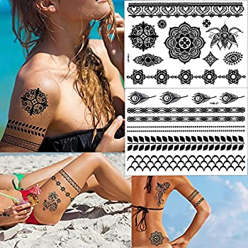 Outee 15 Sheets Black Temporary Tattoos Fake Jewelry Tattoos Henna Temporary Tattoos Temporary Flash Tattoos For Adults & Kids 5
