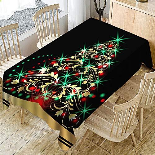 Abwaschbar Weihnachten Rechteckig Schwarz Tischdecke Stoff Vintage Decke Weihnachtlich Deko Für Party (Schwarz, 150X210cm) ()