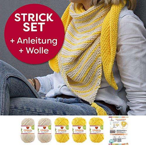 Myboshi Strick-Set Dreieckstuch Surprise: 5 xStrickwolle Lieblingsfarben No.2 + Strickanleitung + selfmade Label Wollfarben: (Löwenzahn / Elfenbein)