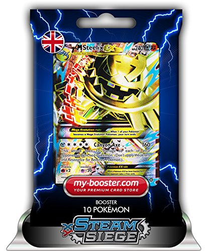MEGA M STEELIX EX FULL ART 109/114 240HP XY11 STEAM SIEGE - Booster de 10 cartes Pokemon anglaises my-booster