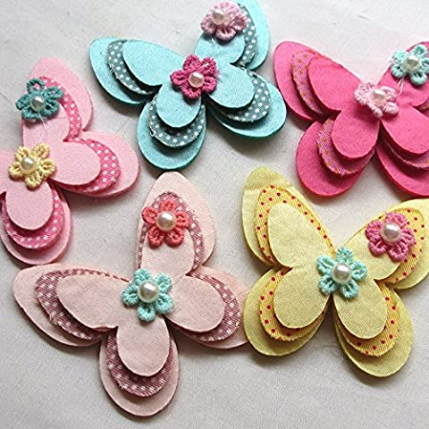 Chenkou Craft New Padded Felt Butterfly Satin Ribbon Flowers Beads Appliques Ornament (Imbottito Applique Craft)