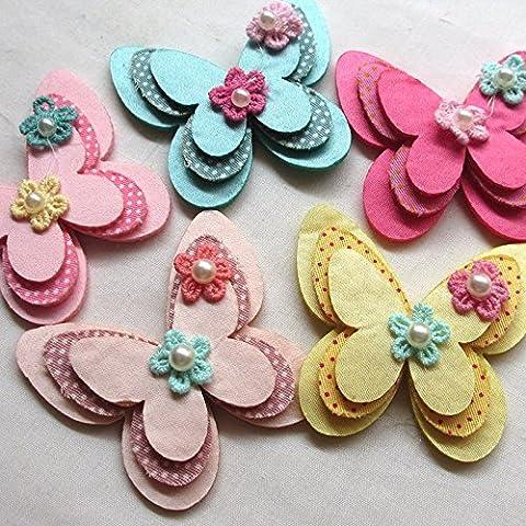 juqian New rembourré feutre Papillon Ruban Satin à fleurs perles décoration (Imbottito Applique Craft)