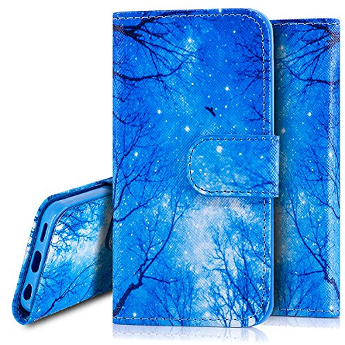Custodia Cover iPhone 5C,Ukayfe Flip Cover Wallet Case Custodia per iPhone 5C in pelle PU,iPhone 5C Lussuosa Astuccio Custodia Cover [PU Leather] [Shock-Absorption] Protettiva Portafoglio Cover Custod Stella Blu 2#