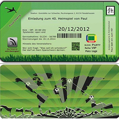 Fussball Einladungskarten Geburtstag Einladungen Fußball-Ticket Ein-ladung 30 Stück