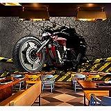 Guyuell Papiers Peints Muraux Vintage 3D Autocollants De Moto Fond D'Écran Photo Maison Décors De Barre-450Cmx300Cm