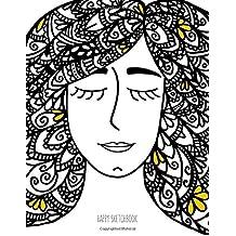 BIG Happy Sketchbook: Zentangle Girl: Dreamy blank sketchbook: Volume 6