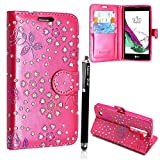ZTE Axon 7 Mini Case - Kamal Star® (Rose Pink Diamond Book) Luxury Slim PU Leather Flip Protective Magnetic Wallet Cover Case for ZTE Axon 7 Mini with Card Slot and Stand Feature + Free Stylus (Rose Pink Diamond Book)