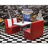 Lomadox American Diner Polsterbankgruppe - 3-teilige ? 2 Polsterbänke in Kunstleder rot/weiß? rechteckige Tisch weiß mit Chromrahmen