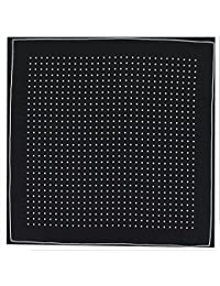 Mens Silk Handkerchief - Silk Pocket Handkerchief - Black With White Spots and Border - (HH52)