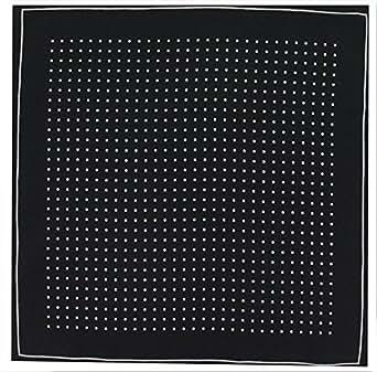 Mens Silk Handkerchief - Silk Pocket Handkerchief - Black With White Spots and Border - (HH52)