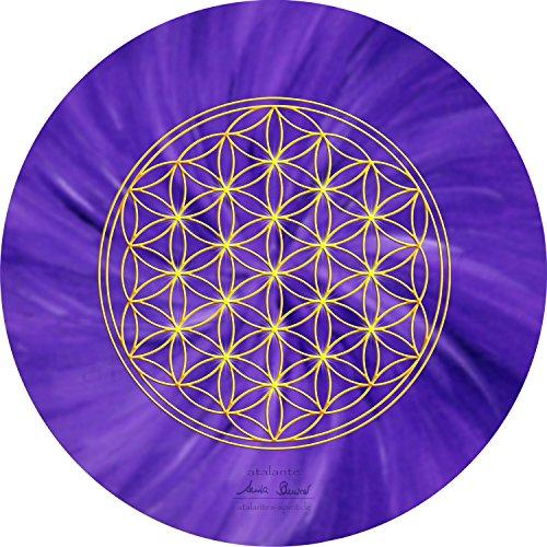 atalantes spirit - Blume des Lebens-Mauspad violett - Ø 19 cm, rund - Energie-Untersetzer Kronenchakra - MousePad-Unterseite: Moosgummi, schwarz