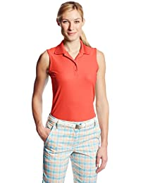 Greg Norman Women's Protek Micro Plique Sleevless Polo Shirt - Coral Fusion, Small
