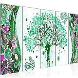 Bilder Gustav Klimt - Baum des Lebens Wandbild 150 x 60 cm Vlies - Leinwand Bild XXL Format Wandbilder Wohnzimmer Wohnung Deko Kunstdrucke Grün 5 Teilig -100% MADE IN GERMANY - Fertig zum Aufhängen 004656b