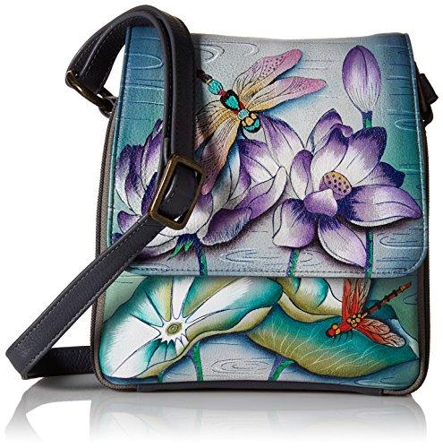 Anuschka handbemalte Ledertasche, Schultertasche für Damen, Taschen Geschenk für Frauen, Reiseveranstalter Umhängetasche mit Rundum Reißverschluss Fach (Libelle Blume 483 TQP) (Umhängetasche Anuschka)