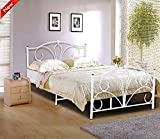 Popamazing® Queen Size Double Bed Frame 4ft6 Classic Gothic Victorian Ivory White Metal Bed Frame