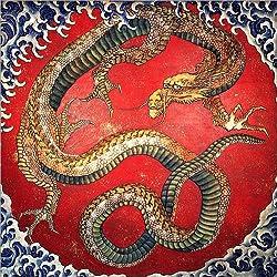 Cuadro sobre lienzo 30 x 30 cm: Dragon de Katsushika Hokusai - cuadro terminado, cuadro sobre bastidor, lámina terminada sobre lienzo auténtico, impresión en lienzo