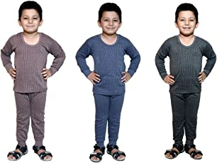 Bodysense Multicolor Thermal Top & Pyjama Set for Boys & Girls (Pack of 3 Sets)